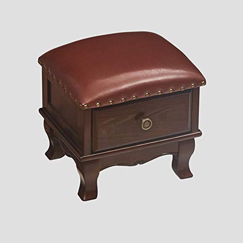 Love Home Genuine Leather Footstool,Solid Wood Drawer Padded Seat American European Footrest Storage Ottoman Retro Step Stool Entrance T 35 * 30 * 30cm(14 * 12 * 12inch)