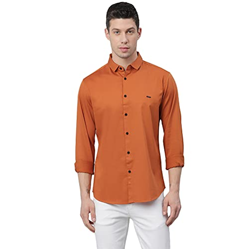 Dennis Lingo Men's Solid Slim Fit Cotton Casual Shirt C610