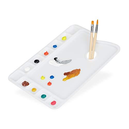 Relaxdays Mischpalette mit Griffloch, Aquarell- u. Acrylfarben, 11 Mulden, Kunststoff, BxT: 33,5x23 cm, Malpalette, weiß