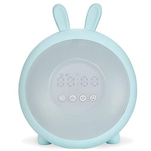 Draagbare lichtwekker LED Wake Up Light, wekker met zonsopgangssimulatie, daglichtwekker FM-radio wekker met licht 7 kleuren, 7 wekgeluiden wekker kinderen alarm klok digitaal horloge nachtlampje Unisex