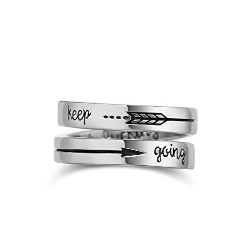 GDDX Anillos de Pulgar Anillos de Banda Ajustable de Plata esterlina Joyería para Mujeres Hombres (Keep Going)