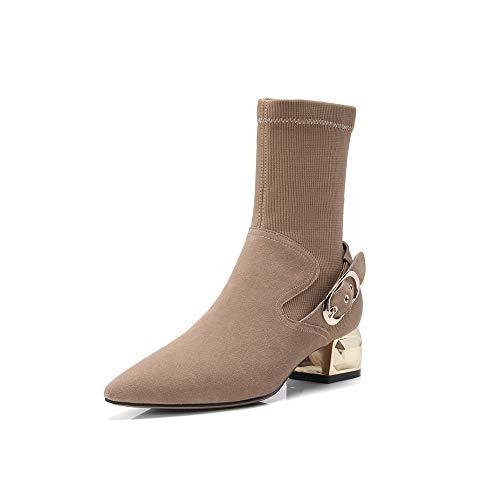 Xiaolin laarzen met gemiddelde hak gesp stretch sokken Martin Retro dameslaarzen
