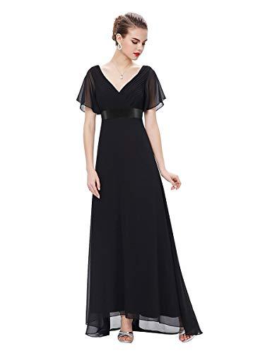 Ever-Pretty Vestito da Sera Donna Stile Impero Linea ad A Scollo a V Maniche Corte Lungo Nero 50