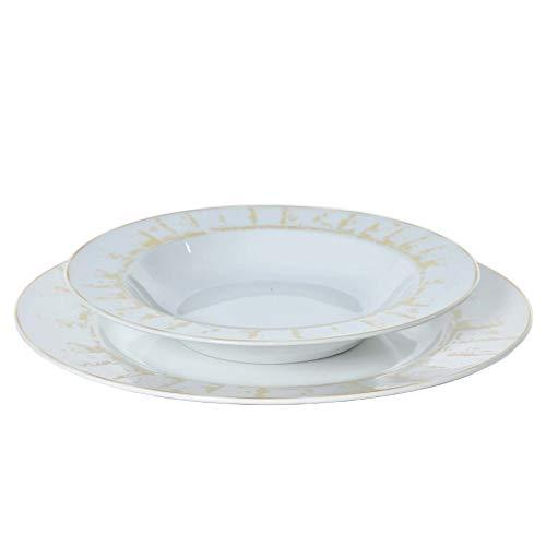 fade Servizio Piatti tavola in Porcellana Colorata 18 Pezzi + 1 Piatto Portata - Set 6 tazzine caffè con Piattino Rays Oro (Piatti 19pz)