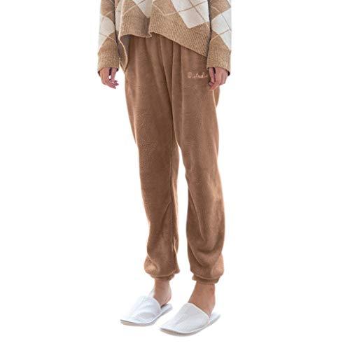 Junjie Dames Broek, Dames Mode Effen Kleur Huis Binnen Pure Koraal Fluweel Huishoudelijke Broek Comfortabele Broek