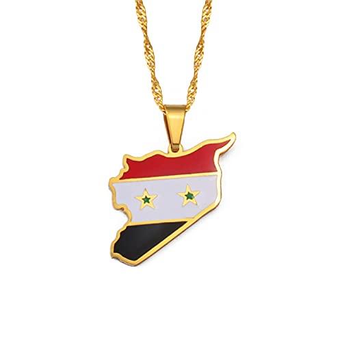 Kkoqmw Siria Mapa Bandera Oro Color encantos Colgante Collares joyería Siria