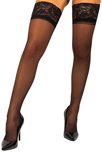 sofsy halterlose transparente Spitzen-Strümpfe - 20 DEN [Made in Italy] Schwarz Black 6 - XX-Large