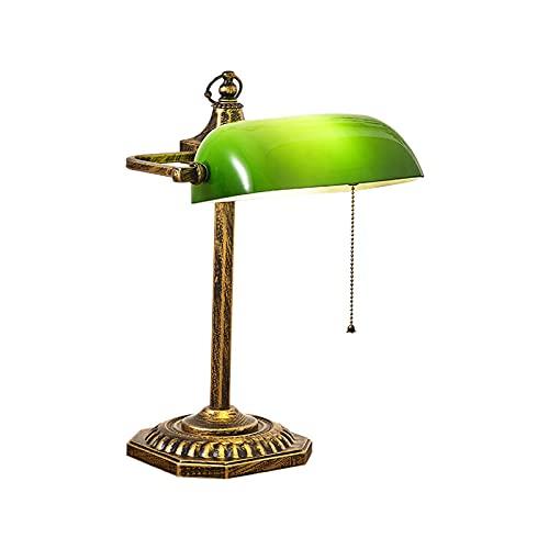 Lámpara de protección ocular moderna,lámpara de mesa de banqueros,lámpara de noche retro verde con pantalla de luz de vitrales e interruptor de tirón Lámparas de escritorio antiguas para sala de le