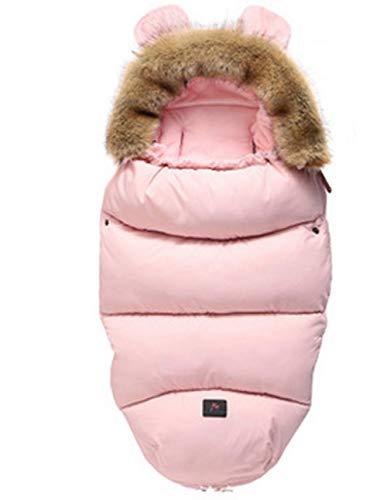 CHRONSTYLE Baby Schlafsack Für Kinderwagen Kutsche Kinderwagen Fußsack Warmer Winter Wickelumschlag Für Neugeborene Baby Kokon (Rosa, 100 x 46 cm)