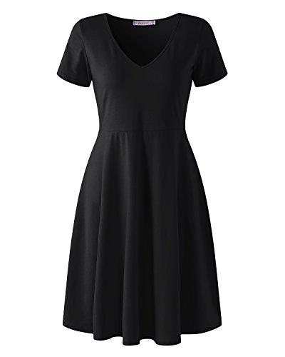 kenoce Kleid Damen Elegante für Hochzeit Abendkleider Elegante Kurz Sommerkleider Damen Knielang Skaterkleider Knielänge Schwarz EU42/Etikettgröße XL