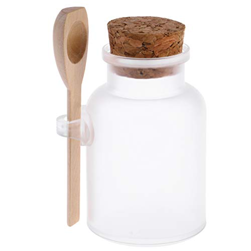 Beaupretty 100g Bath Salt Bottle Empty ABS Bottle with Wooden Cork and Spoon Party Favors Supplies for Spice