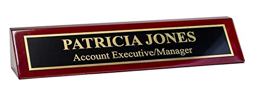 Piano Finished Rosewood Desk Name Plate, 2