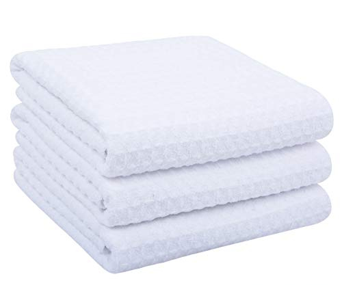 SINLAND Microfiber Dish Towels Kitchen Drying Towel Waffle Weave Hand Towel 3 Pack 16inch X 24inch White
