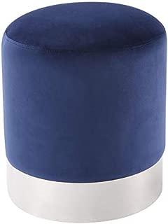Posh Living Jason Blue Velvet Round Ottoman - Chrome Metal Base - Upholstered