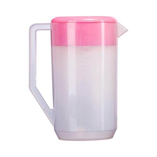 Lurrose Jarra de Agua de Plástico con Tapa Jarra Hermética Graduada Jarra de Agua Fría Tetera para Té Helado de Leche Bebida de Agua (2500Ml Rosa)