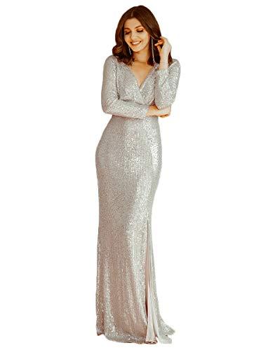 Ever-Pretty Damen Abendkleid Meerjungfrau V Ausschnitt Lange Ärmel Pailletten Partykleid Dekolletiert Champagner 40