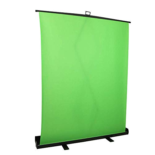 1.5 x 2M / 59 x 78.7 in Collapsible and Retractable Green Chromakey Screen with Built-in Aluminum Case, Premium Backdrop Screen, Fast and Easy Setup for Live Broadcast, Video Studio