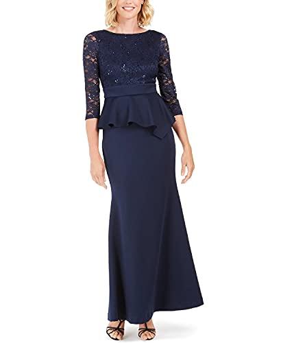 Jessica Howard Womens Navy Ruffled Long Sleeve Jewel Neck Maxi Sheath Evening Dress Size 6