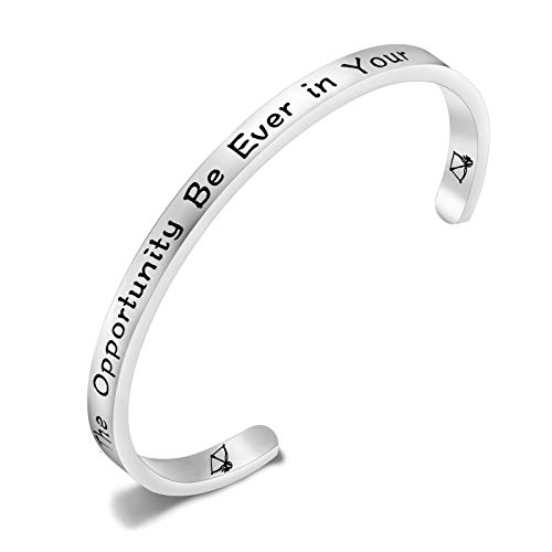 amazon collection inspired silver bracelets PLITI Book Nerd Gift May The Opportunity Be Ever In Your Favor Cuff Bangle Book Lover Gift Bird Arrow Charm Movie Inspired Bracelet