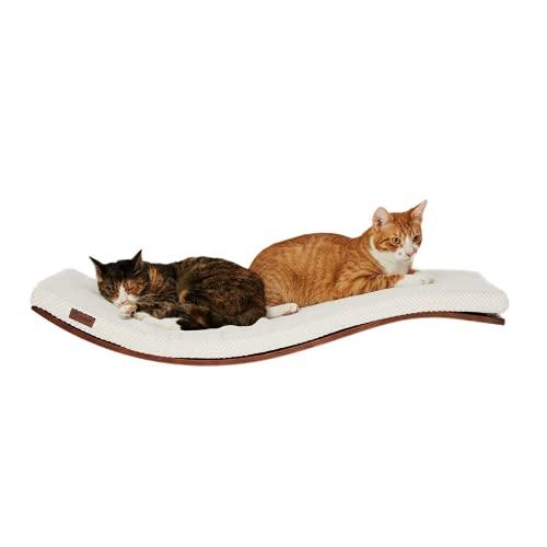 COSY AND DOZY Katze Wandliege Katzenliege | Katzenbett | Katzen | 90 cm x 41 cm | Walnuss Holz