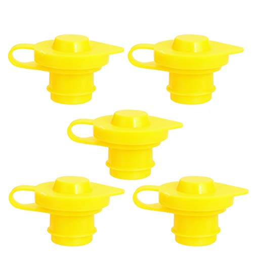 ORANDESIGNE 5PCS Gas Can Vent Cap Replacement Gas Container Breather Part Allow for Faster Flowing Fuel Fit Any Fuel Gas Water Diesel Can Yellow 5 Pack
