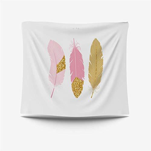 Tapiz de pared de mandala indio, gran mantel, dormitorio, sala de estar, decoración de dormitorio, tapices para colgar en la pared, plumas rosas, 130 x 150 cm