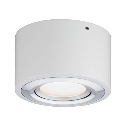 Paulmann 79708 LED Deckenleuchte Argun rund schwenkbar incl. 1x4,8 Watt dimmbar Deckenlampe Alu gebürstet Wohnzimmerlampe Metall Flurlampe 3000 K, 4.8 W