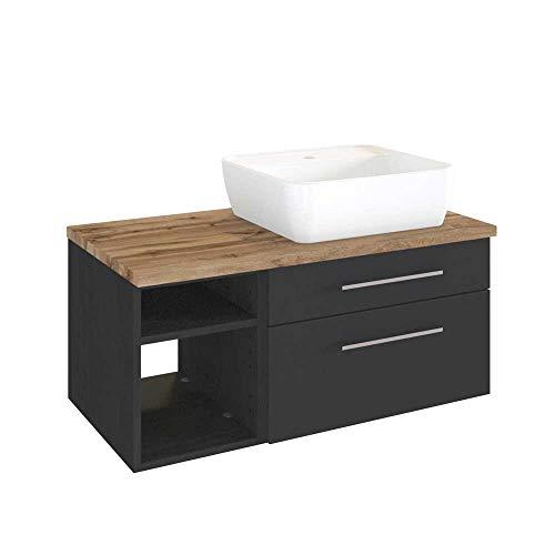 Pharao24 Waschtischunterschrank mit Aufsatz-Waschbecken dunkel Grau und Wildeiche Dekor