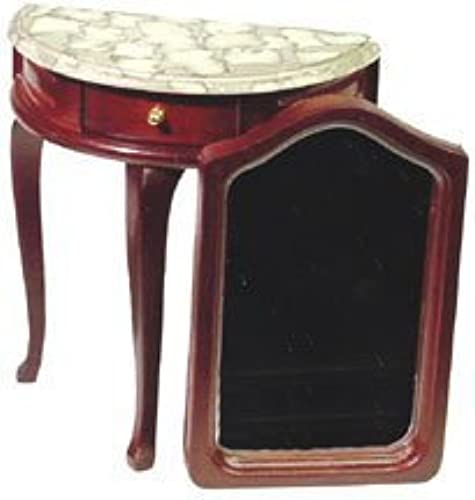 Dollhouse Miniature Marble Top Hall Table and Mirror by Aztec Imports, Inc.