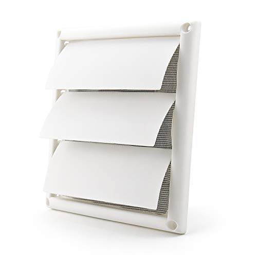 Funmit 6'' Louvered Vent Cover for Exterior Wall Vent Hood Outlet Airflow Vent Dryer Air Vent (White)