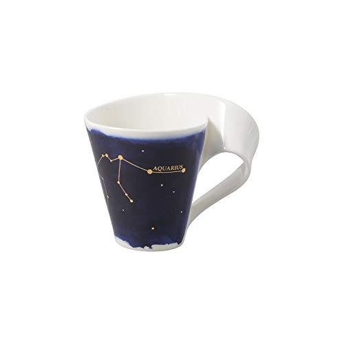 Villeroy & Boch - NewWave Stars Becher mit Henkel, formschöne Tasse mit Wassermann-Motiv, Premium Porzellan, spülmaschinengeeignet, weiß/blau, 300 ml