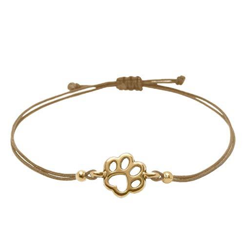 Pfoten Armband Rosegold Braun von Selfmade Jewelry - Handmade & Größenverstellbares Armkettchen Inkl. Schmucksäckchen