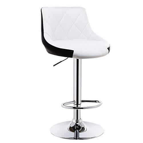 Barstools barkruk, polyurethaan, voor buiten, met verstelbare rugleuning, draaibaar, gaslift Wit