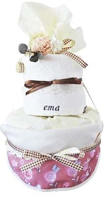 006natural 出産祝い 男の子 女の子 おむつケーキ 北欧 オーガニック タオル 名入れ (ウォーターカラー柄, パンパース新生児テープ)