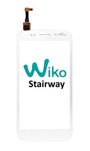 Vervangend touchscreen met logo voor Wiko Stairway wit + gereedschap, dubbelzijdig plakband en displaybeschermfolie (verkoop zonder LCD=