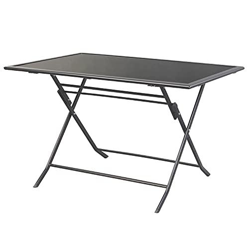 Mojawo Gartentisch Klapptisch Glastisch Dunkelgrau/Schwarz 140x85cm mit Black Tempered Glasplatte klappbar Witterungsbeständig durch pulverbeschichtung