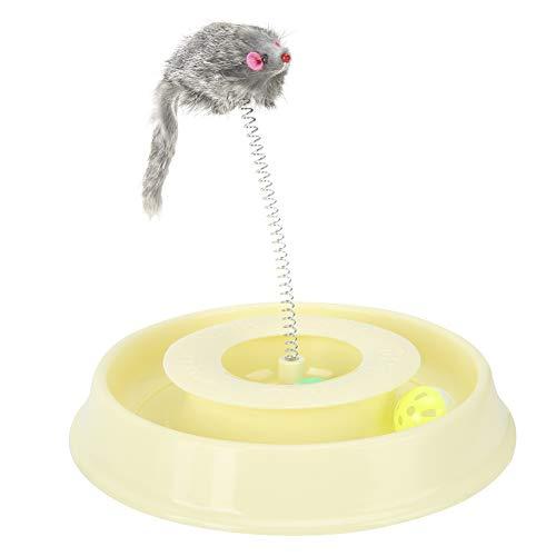Boquite Ratón de Resorte Juguete de plástico firmemente Interactivo Gato Juguete Divertido, Juguete de Gato para Mascotas, para Juguete de Gato para Mascotas, Gatito Que Juega al Gato(Yellow)