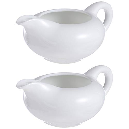 DOITOOL 2pcs Ceramic Gravy Boat White Porcelain Sauce Boat with Lip Spout for Gravy Salad Dressing Creamer Milk Broth Black Pepper Dishwasher Microwave Oven Safe