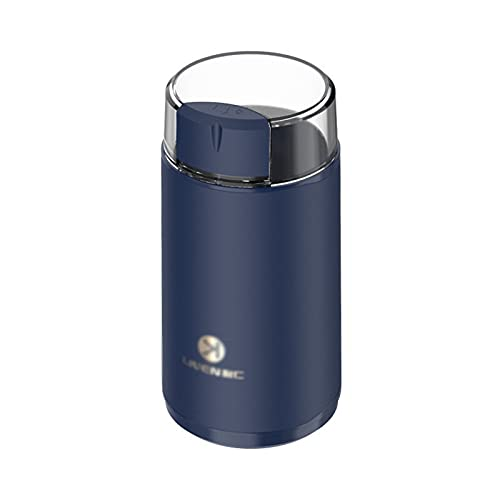 Lihuzmd Molinillo de café eléctrico de 150 W, presione para iniciar el Cable de alimentación Desmontable con Hoja de Acero Inoxidable para Granos de café, Hierbas, Especias, Granos, nueces