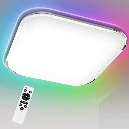 Hengda Plafón LED RGB 36W, Lámpara de techo regulable, 2700-6500K, Blanco Natural, Blanco Cálido y Frío, IP44 Impermeable, para dormitorio, sala de estar, cocina, comedor, oficina, baño, balcón