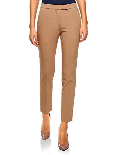 oodji Collection Mujer Pantalones Clásicos Ajustados, Beige, ES 42 / L
