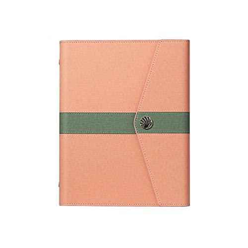 Diario de escritura cuaderno de hojas sueltas cuaderno de negocios A5 de piel con soporte para bolígrafos, regalos para amigos (color rosa