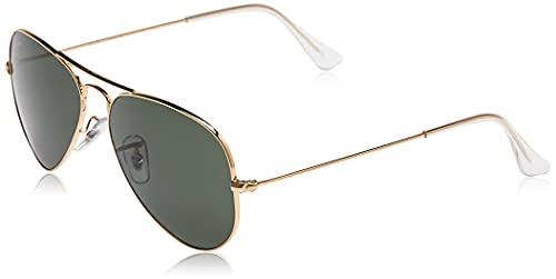 Ray-Ban Aviator Large Metal, Gafas de sol para Hombre, Dorado (Green Classic), 62