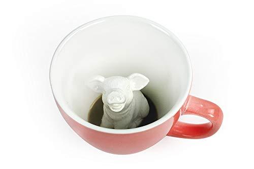 CREATURE CUPS Pig Ceramic Cup (11 Ounce  Peach) | Hidden Animal Inside | Coffee Mugs & Tea Cups | Piggy Farm Animal