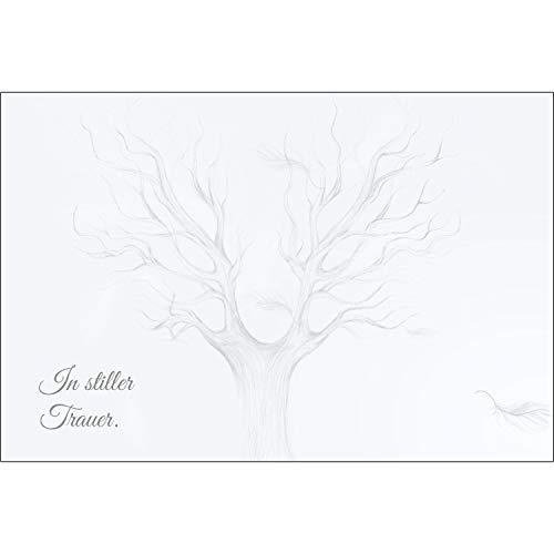 Merz Designkarten 10 Stück einfühlsame Premium-Trauerkarten/Beileidskarten (Baummotiv) im Set mit 10 Umschläge - Anteilnahme Trauerkarte, Spruch