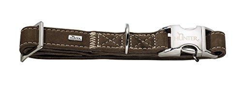 HUNTER HUNTING ALU-STRONG Hundehalsung, Hundehalsband, Aluminium Steckverschluss, Leder, robust, weich, L, braun