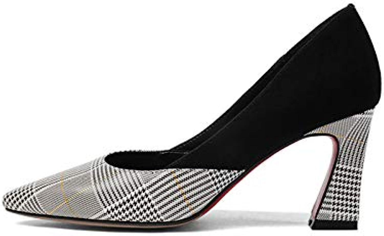 HOESCZS Neue Frauen Aus Echtem Leder Platz High Heels Slip-on Gingham Schuhe Frau Mode Frühjahr Pumpt Groe Gre 33-43,