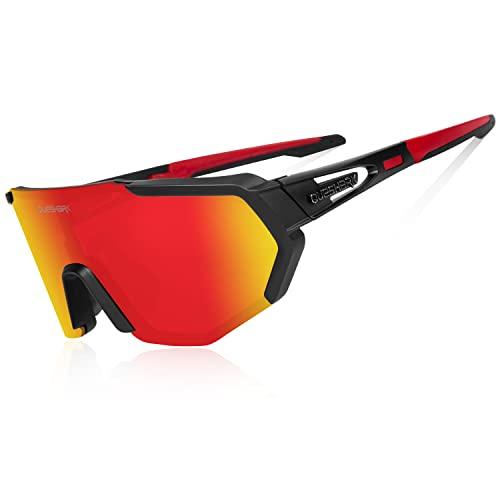 Queshark Gafas De Sol Polarizadas para Ciclismo con 5 Lentes Intercambiables, Protección UVA & UVB, Bicicleta de Carretera MTB Gafas de Ciclismo,Certificación CE