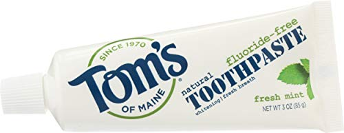 Tom's of Maine Natural Fresh Mint Fluoride-Free Whitening Toothpaste 3 Ounces each (24 Pack) TSA Airplane Approved Freshens Bad Breath and Whitens Teeth