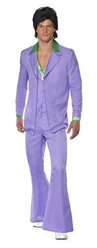 Smiffys - Costume uomo anni 70 hippie adulto taglia M. Include Giacca, Pantalone, Gilet con colletto finto della camicia attaccato.